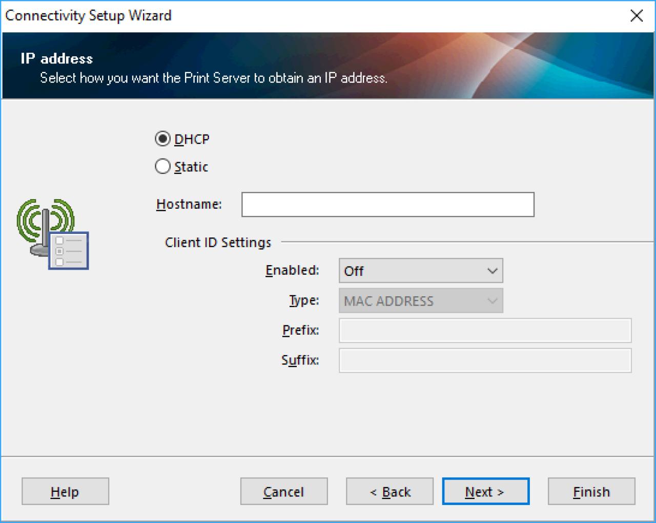 Schermata di selezione dell'indirizzo IP