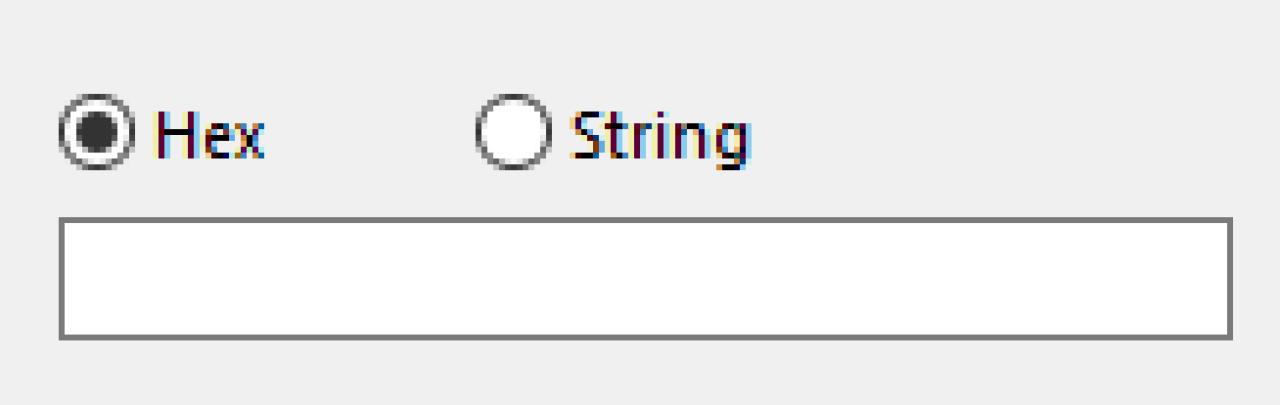 16 進数または文字列選択画面