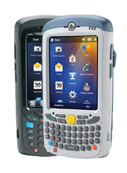 Zebra MC55A0 handheld computers, shown in black and white
