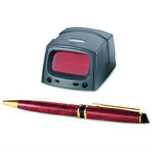 Zebra MiniScan MS-u002D120XFZY scanner, montré avec un stylo pour la comparaison de la taille