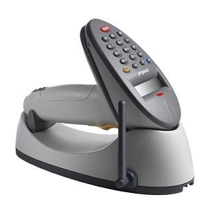 Zebra P470 discontinued scanner, shown in cradle